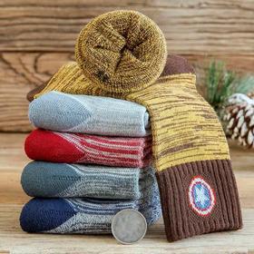 儿童袜子女童纯棉冬季加厚保暖毛圈袜男童中筒加绒宝宝地板袜男孩