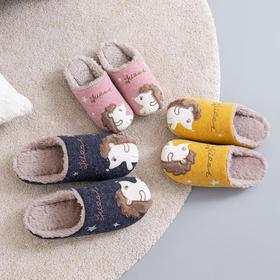 朴西 亲子保暖卡通毛绒刺绣家居拖鞋家用防滑儿童棉拖鞋女可爱冬季室内
