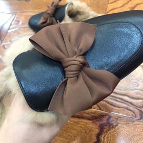 【预售一周】牛皮毛毛拖鞋女外穿平底包头兔毛半拖鞋