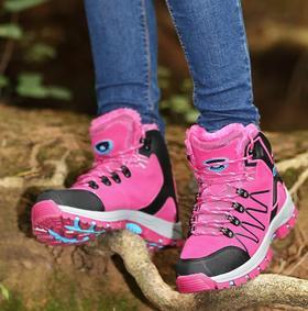 【潮流鞋子】冬季高帮加绒登山鞋男保暖棉鞋女徒步鞋情侣款防水防滑户外越野鞋