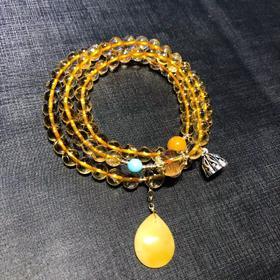 天然黄水晶多宝三圈原创手链