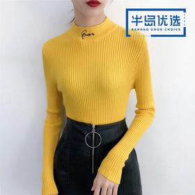 服装女装2019新款字母刺绣半高领打底修身上衣女329