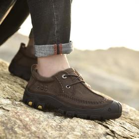 【潮流鞋子】冬季新款真皮男士户外休闲登山鞋耐磨头层牛皮徒步鞋子
