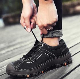 【潮流鞋子】春秋季男士户外休闲鞋防滑耐磨徒步鞋磨砂皮户外运动系带男鞋