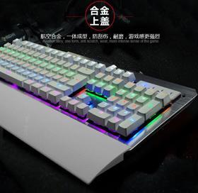 【机械键盘】青轴发光机械键盘背光金属机械键盘有线网吧游戏机械键盘