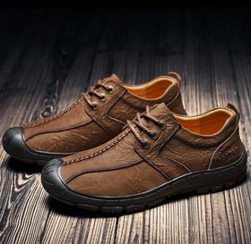 【潮流鞋子】头层牛皮低帮真皮防水防滑户外登山鞋秋季软底皮鞋徒步爬山休闲鞋