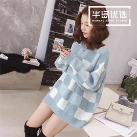 服装女装秋装新款韩版撞色格子长袖圆领套头毛衣女学生宽松针织衫上衣6992
