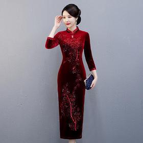 婚礼喜酒宴会,复古丝绒旗袍QQX-QX3913