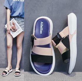 【潮流鞋子】夏季新款休闲凉拖轻便百搭沙滩凉鞋女平跟一字学生凉鞋潮