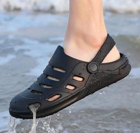 【潮流鞋子】情侣洞洞鞋新款拖鞋夏季个性潮流软底室外包头沙滩鞋防滑凉鞋