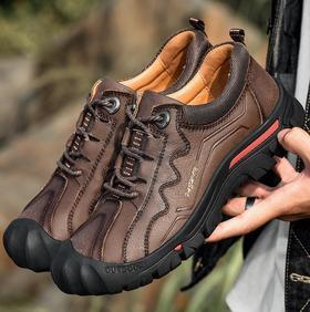 【潮流鞋子】头层牛皮户外休闲徒步旅行登山鞋时尚运动休闲男鞋多功能鞋面