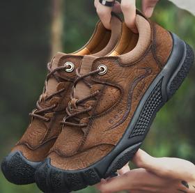 【潮流鞋子】秋季头层牛皮户外鞋男防滑耐磨徒步登山鞋磨砂休闲鞋