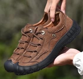 【潮流鞋子】秋冬新款头层磨砂牛皮户外徒步鞋软底包头休闲登山鞋