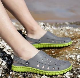 【潮流鞋子】夏季新款镂空凉鞋洞洞鞋男透气情侣半拖鞋沙滩花园鞋鸟巢拖鞋大码