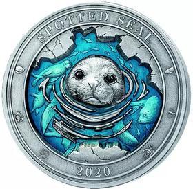 2020年巴巴多斯发行水下世界系列-斑海豹5元镀珐琅高浮雕仿古银币