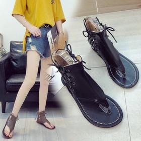 【潮流鞋子】大码平底系带女鞋拉链人字沙滩凉鞋纯色百搭休闲罗马鞋