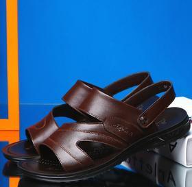 【潮流鞋子】男士夏季特大码凉鞋大号沙滩鞋真皮凉鞋