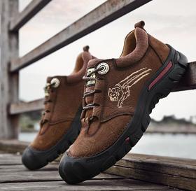 【潮流鞋子】登山鞋男防水防滑耐磨低帮真皮旅行沙漠户外休闲爬山徒步鞋