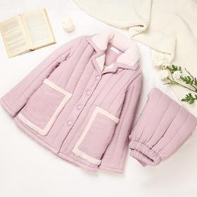 润微睡衣女时尚卡通加厚绒保暖舒适法兰绒三层夹棉家居服套装 集萤映雪