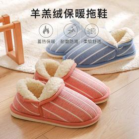 全包跟,翻盖控温【羊羔绒保暖拖鞋】高密度羊羔绒蓄热保暖 包跟包脚裸 防滑设计
