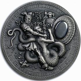 纽埃2018年希腊半神②珀尔修斯美杜莎超高浮雕仿古2盎司纪念银币