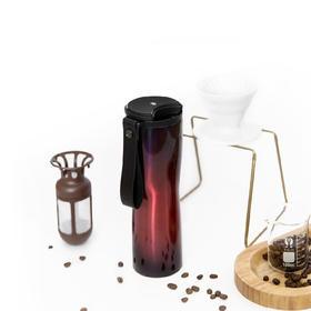 【为思礼】moka轻智能咖啡杯 精密滤网 OLED显示屏 贝塞尔曲线杯身 头层牛皮提绳 食品级不锈钢 长时效保温锁冷 便携咖啡杯