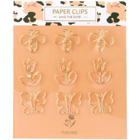 never豹纹花系列回形针曲别针装订文具回型针异形花朵蝴蝶回形针