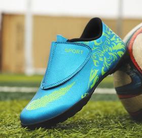 【足球鞋】儿童足球鞋青少年学生低帮魔术贴套脚皮面碎钉平底短钉运动训练鞋