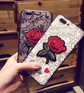 【手机壳】浮雕刺绣玫瑰花苹果7手机壳适用于iphone XSMAX/8P带挂绳女保护套