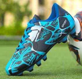 【足球鞋】足球鞋春低帮皮面胶钉长钉碎钉平底草地男女儿童青少年训练运动鞋
