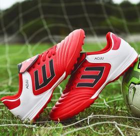 【足球鞋】足球鞋儿童大码成人训练鞋低帮皮面TF碎钉平底短钉青少年平地男女