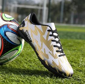 【足球鞋】儿童足球鞋成人青少年学生低帮皮面碎钉平底短钉TF迷彩运动训练鞋