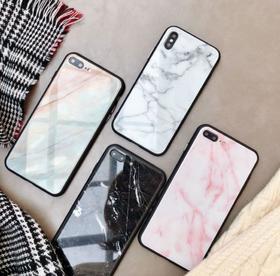 【手机壳】大理石玻璃壳iPhoneX手机壳苹果8plus/7/6s创意个性全包保护套