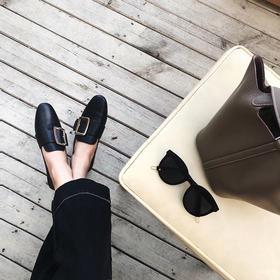 2020新款乐福鞋女平底英伦风小皮鞋一脚蹬方扣单鞋懒人穆勒鞋