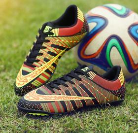 【足球鞋】足球鞋青少年儿童成人碎钉平底平地学生比赛训练运动鞋TF低帮皮面