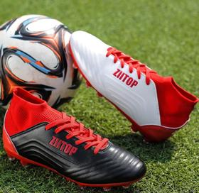 【足球鞋】男子足球鞋中高帮飞织套脚长钉底胶钉专业比赛草地大码跨境训练鞋