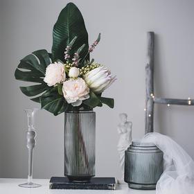 现代简约透明玻璃花瓶摆件餐桌客厅电视柜办公室摆件干花插花器