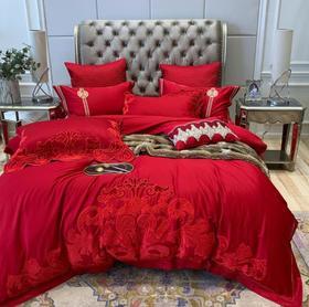【婚庆套件】欧式巴洛克风60支长绒棉刺绣喜被全棉高档大红结婚床上用品四件套