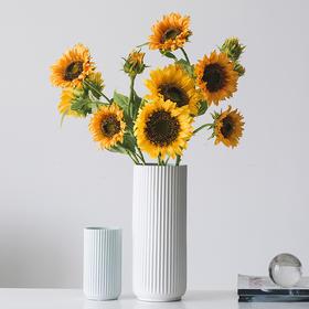 创意向日葵干花陶瓷花瓶仿真花艺客厅餐桌电视柜酒柜办公桌面摆件