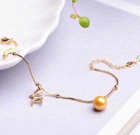 【K金手链】14K金黄珍珠手链 金色珍珠手镯
