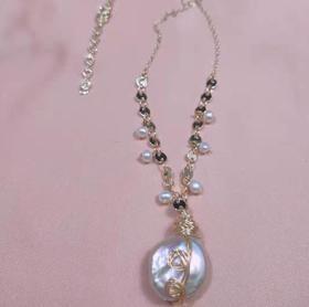 【K金项链】复古创意14k包金绕线天然巴洛克珍珠吊坠项链