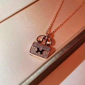 【K金项链】微镶钻H字母手提包包镀18K玫瑰金锁骨链