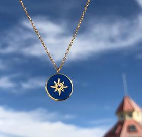 【K金项链】蓝色珐琅海洋八芒星罗盘圆形吊坠项链锁骨链 钛钢镀18K金