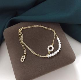 【K金手链】天然淡水珍珠手链 气质双层14k注金圆环手链