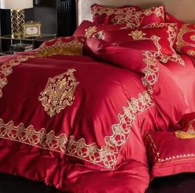 【婚庆套件】中式婚庆床上用品 60S长绒棉刺绣大红宫廷风被套