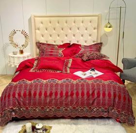 【婚庆套件】高档欧式奢华酒红色四件套结婚庆床上用品蕾丝被套60支长绒棉