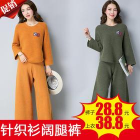 E8822+E8836时尚气质针织衫休闲阔腿裤TZF