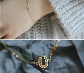 【K金手链】幸运马蹄 纯14K黄金镶锆钻迷你U型马蹄精致纤细手链