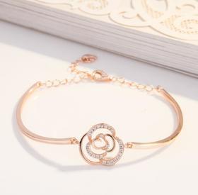 【K金手链】花朵手环镀18k玫瑰金梅花手链