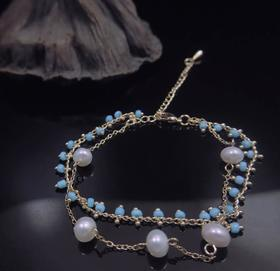 【K金手链】简约创意14K包金编织天然淡水珍珠手链